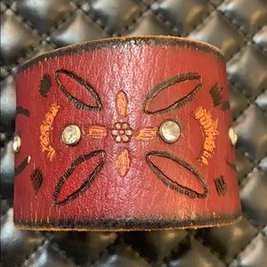 Vintage Brown Leather Tribal Thick Cuff Bracelet